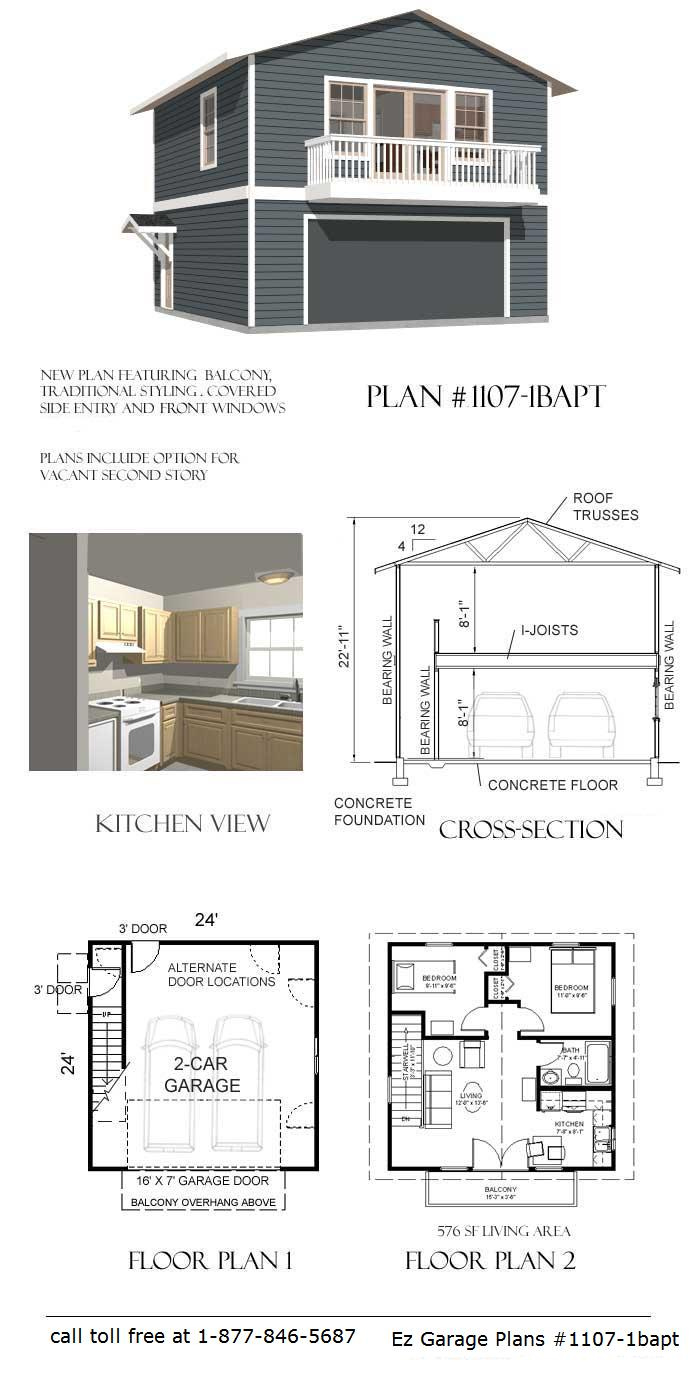 Ez garage plans for One car garage plans with apartment above